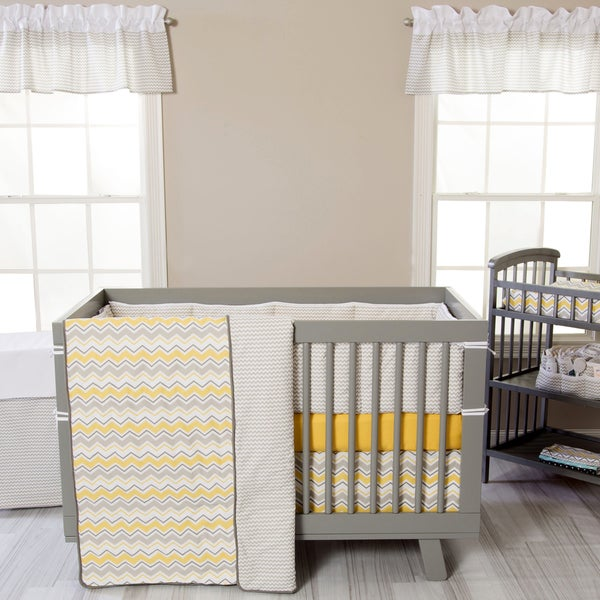 Shop Trend Lab Buttercup Zigzag 3 Piece Crib Bedding Set
