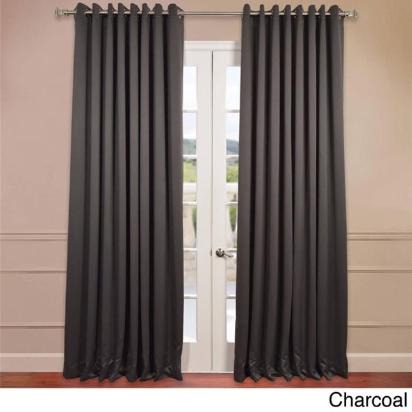 Exclusive Fabrics Extra Wide Thermal Blackout Grommet Top 108 Inch Charcoal Curtain Panel In