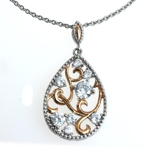 Michael Valitutti Silver and Copper Cubic Zirconia Pendant