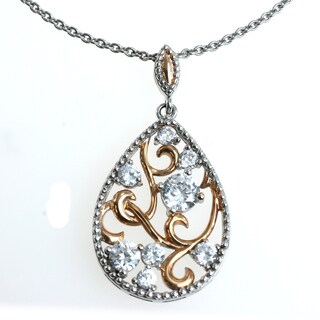 Michael Valitutti Silver and Copper Cubic Zirconia Pendant