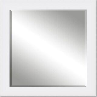 Framed Beveled Mirror- White