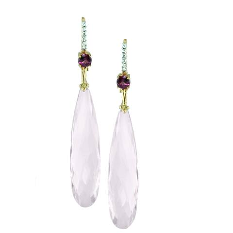 Michael Valitutti 14k Gold Rose Quartz and Rhodolite with Diamonds Earrings