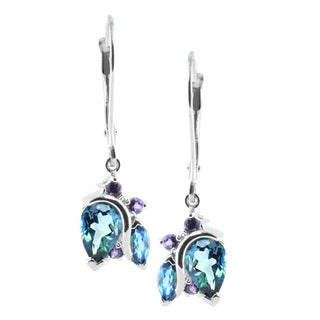 M.V. Jewels 14k Gold Alexandrite and Amethyst Earrings