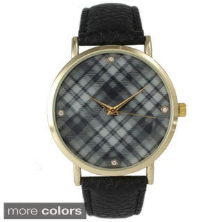 Olivia Pratt Women's Plaid Dial Leather Band Watch