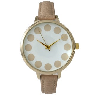 Olivia Pratt Women's Chic Dots Leather Band Watch