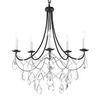 Versailles 5-light Wrought Iron and Crystal Chandelier