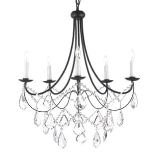 Versailles 5 Light Wrought Iron And Crystal Chandelier