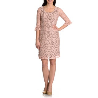 Rabbit Rabbit Rabbit Women's Lace Bell Sleeve Sheath Dress (Option: 10)