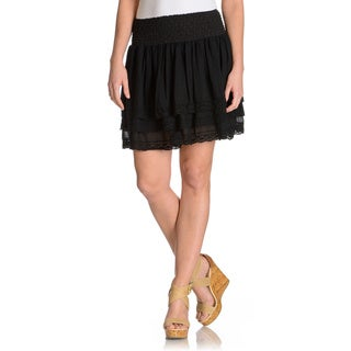 Chelsea & Theodore Women's elastic puckered waistband crochet trim skirt