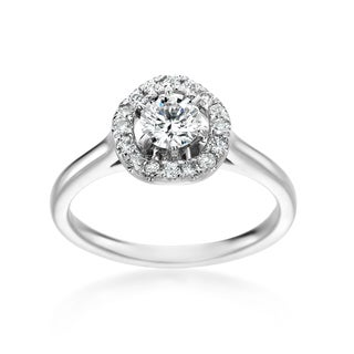 SummerRose 14k White Gold 3/4ct TDW Round Diamond Halo Engagement Ring