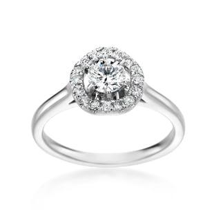 SummerRose 14k White Gold 3/4ct TDW Round Diamond Halo Engagement Ring (H-I, SI1-SI2)