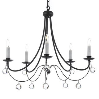 Versailles 5-Light Wrought Iron Chandelier with 40mm Faceted Crystal Balls