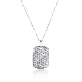 SummerRose 14k White Gold 1ct TDW Diamond Dog Tag Necklace
