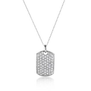SummerRose 14k White Gold 1ct TDW Diamond Dog Tag Necklace