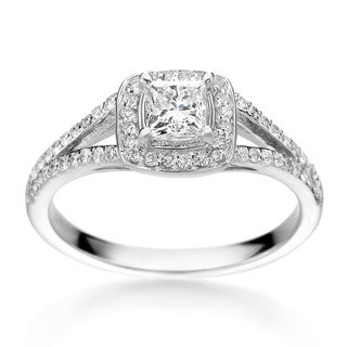 SummerRose 14k White Gold 3/4ct TDW Princess-cut Diamond Halo Engagement Ring