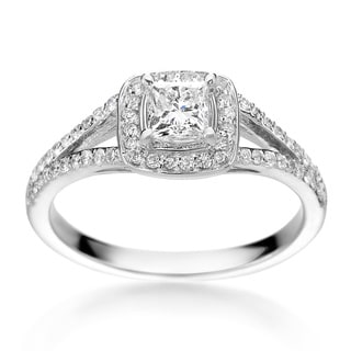 SummerRose 14k White Gold 3/4ct TDW Princess-cut Diamond Halo Engagement Ring ( H-I, SI1-SI2)
