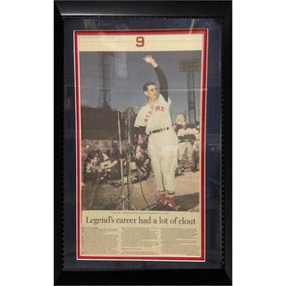MLB Boston Red Sox Ted Williams 12x18 Newspaper Frame