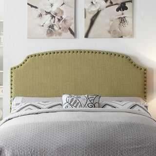 Furniture of America Emira Adjustable Lemongrass Flax Upholstered Headboard