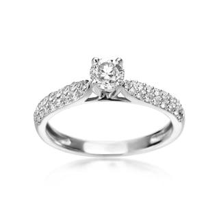 SummerRose 14k White Gold 3/4ct TDW Diamond 2-Row Engagement Ring