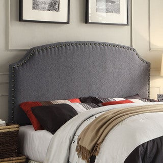 Furniture of America Emira Adjustable Grey Flax Upholstered Headboard