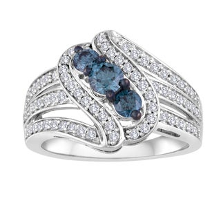 Sterling Silver 1ct TDW White and Blue Diamond Ring