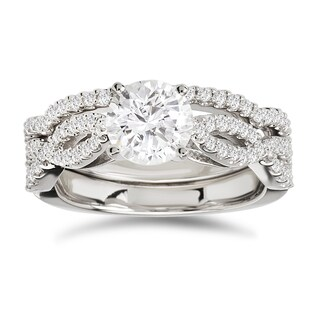 Avanti 14k White Gold 1 1/2ct TDW Certified Diamond Bridal Ring Set (G-H, SI1-SI2)