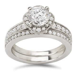 Avanti 14k White Gold 1 1/2ct TDW Diamond Clover Halo Bridal Ring Set (G-H, SI1-SI2)