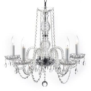 Venetian Style All Crystal 5 Light Chandelier with Austrian Crystal