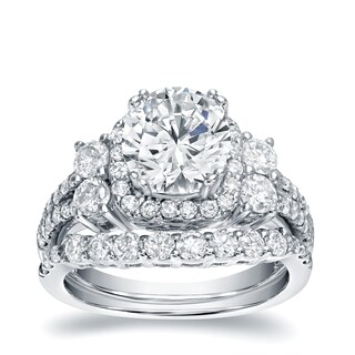 Auriya 14k White Gold 2 1/3ct TDW Certified Diamond Halo Engagement Ring Set (5 options available)