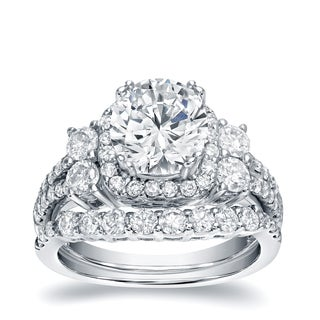 Auriya 14k White Gold 2 1/3ct TDW Certified Diamond Halo Engagement Ring Set