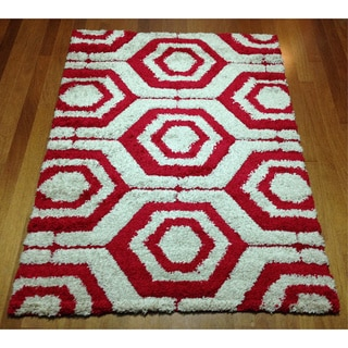 Modern Geometric Red Shag Area Rug (5'3 x 7'2)