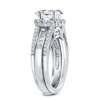 Auriya 14k White Gold 2ct TDW Certified Diamond Insert Bridal Ring Set (H-I, SI1-SI2)
