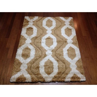 Modern Brown Lattice Shag Area Rug (5'3 x 7'2)