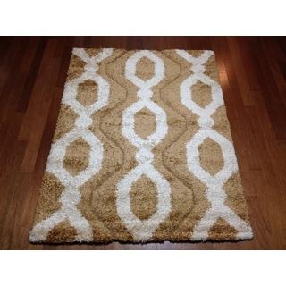 Modern Brown Lattice Shag Area Rug (5'3 x 7'2)