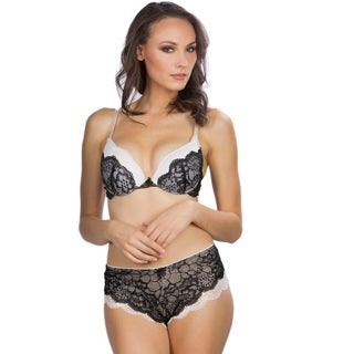 Hers by Herman Women's Black/ Ivory Lace Push-up Bra and Panty Set