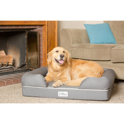 PetFusion Premium Edition Ultimate Grey Memory Foam Dog Lounge and Dog Bed