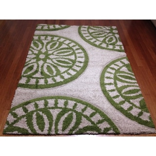 "Modern Medallion Green Shag Area Rug (5'3""x 7'2)"