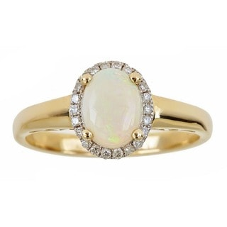 Anika and August 10K Yellow Gold Oval-cut Australian Opal Ring