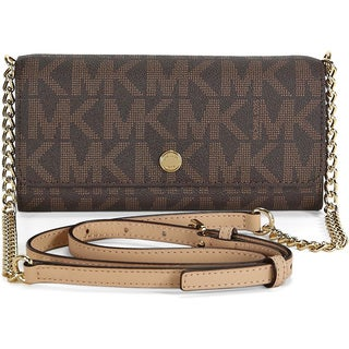 MICHAEL Michael Kors MK Signature Brown Wallet on a Chain