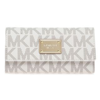 ba4eff53b9a8 Shop Michael Kors Vanilla Jet Set Checkbook Logo Wallet - Free Shipping  Today - Overstock - 10099022