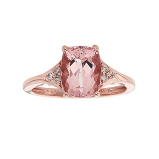 Anika and August 14k Rose Gold Cushion-cut Morganite 1/10ct TDW Diamond Ring (G-H, I1-I2)