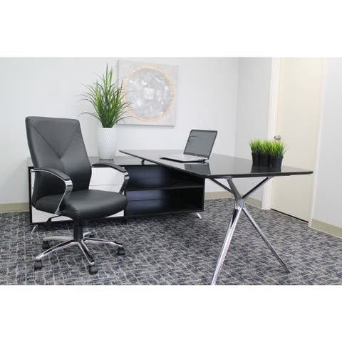 Boss LeatherPlus Executive Chair with Chrome Finish