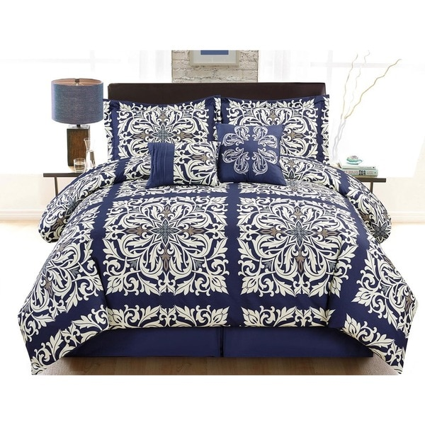 Indigo Scroll 6-piece Comforter Set