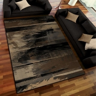 Galaxy Collection Artistic Smear Black Area Rug (5'3 x 7'6)