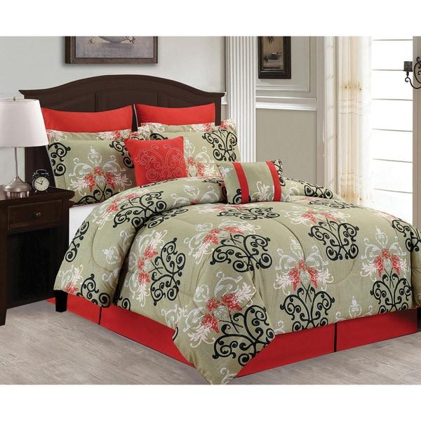 Floral Damask 8-piece Comforter Set