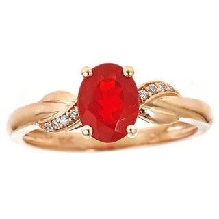 Anika and August 10k Rose Gold Oval-cut Fire Opal Diamond Accent Ring (Size 7)