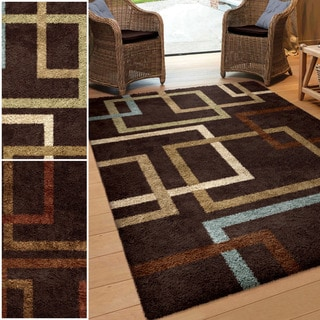 "Carolina Weavers Riveting Shag Collection Cuff-Links Brown Shag Area Rug (7'10 x 10'10) - 7'10"" x 10'10"""