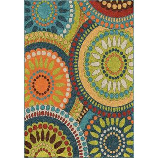 Carolina Weavers Cocamo Collection Color Spectrum Green Area Rug (5'2 x 7'6)
