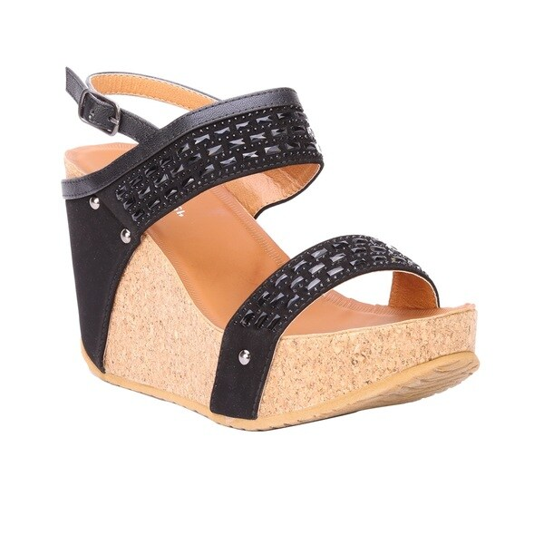 44ddb17ccd8ffb Coshare Women  x27 s Forever Maya-20 Rhinestone Embellished Low Top Wedge  Sandals
