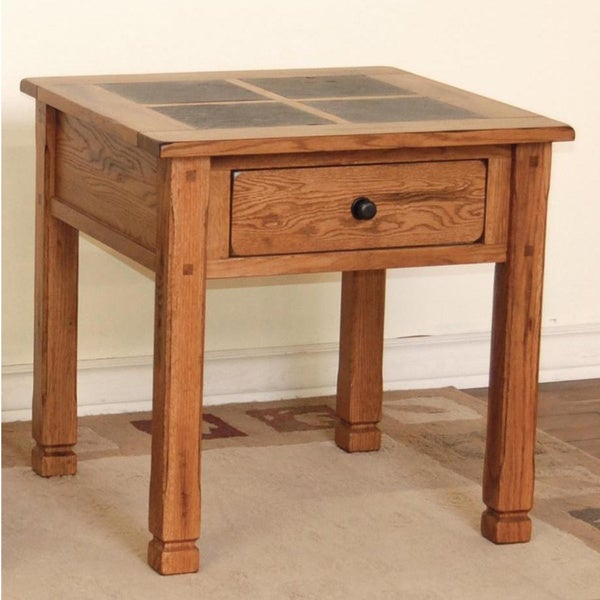 Rustic Slate Top Oak End Table